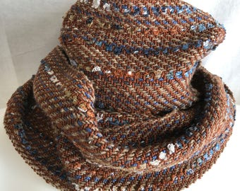 Handwoven Blue Rust Scarf | Cotton Silk Scarf | Twill Weave Scarf | Handmade Scarf | Long Scarf | Versatile Scarf | Gift For Men | Wife Gift