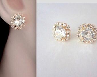 Gold crystal stud earrings, Halo crystal stud earrings, Swarovski gold crystal earrings, Brides stud earrings, Bridesmaids earrings, SOPHIA