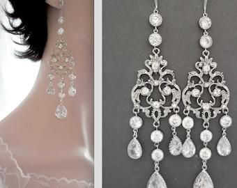 """Long chandelier earrings, 4 1/2"""", Chandelier wedding earrings, Cubic zirconia teardrops, Elegant, Sterling silver posts, Wedding earrings"""