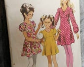 Retro Girls Spring Dress Pattern by Simplicity Size 12 - 1971 Easter Dress Pattern, Mid Century Spring + Summer Pattern for Little Girls