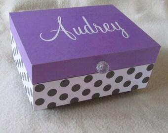 Girl Keepsake Box- Girl Memory Box- Memory Box - Purple Keepsake Box - Purple and Black Polka Dot - Personalized - Gift