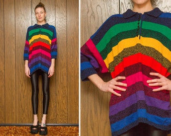 Vintage 90s Black Rainbow Striped Pullover LBGTQ Pride Gay Red Yellow Green Blue Stripe Button Up Collar Oversized Sweater S M L Xl