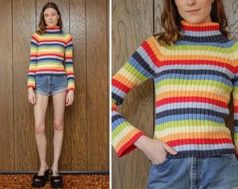 Vintage 90s Retro No Boundaries Ribbed Preppy Rainbow Striped Gay LGBTQ Stripe Geometric Ski Long Sleeve Turtleneck Sweater S M