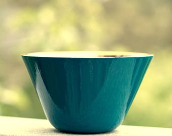 """Hand-gilded Gold Verre Eglomisé Bowl, 23-Karat Gold Leaf on Glass, Blue Green and Gold, Hand-Gilded and Painted, Home Décor, 6.25"""" X 3.75"""""""