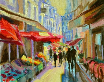 Original painting of PARIS, beautiful side walk scene, Parisian street, bold colors, red and purple