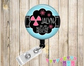 Personalized - NUCLEAR MEDICINE - Radioactive Symbol with Atoms - Button Badge Reel - Retractable ID Holder - Alligator or Slide Clip