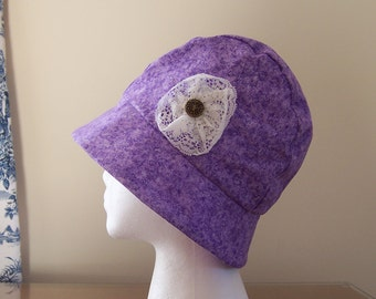 Chemo Hat Cloche Style Cotton Print in Lavender and Plum for Women cotton lined with lace flower accent, Cancer Patient Gift, Ready to Ship