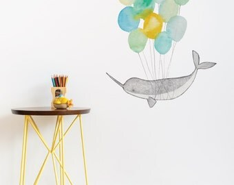 Narwhal On Balloons Removable Wall Sticker | LSB0259CLR-JMS