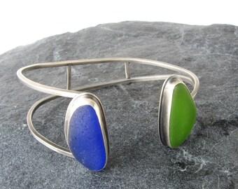 Sea Glass Cuff Bracelet in Cobalt Blue and Lime Green Beach Glass Jewelry