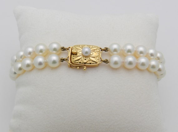 "MIKIMOTO Double Strand Pearl Bracelet 18K Yellow Gold 100% Authentic 7"" Pearls"