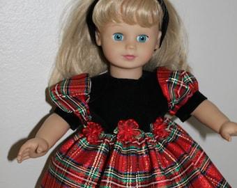Pretty velvet and taffeta dress for your 18 inch doll.