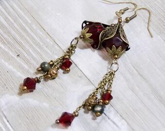 Red Beaded earring jewelry dangle drop romantic bohemian jewelry ruby red EBE007 antique brass earring antique earring handcrafted earring