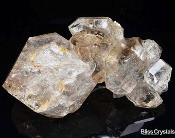 """Sparkley! 8 Stone HERKIMER DIAMOND Specimen 5.2"""" Genuine DT Natural Stone Ice Clear Healing Crystal and Stone #DH01X"""