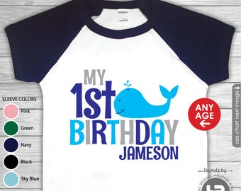 Whale Birthday Shirt or bodysuit - Raglan Sleeves - Whale 1st Birthday Shirt - Whale First Birthday Shirt or ANY AGE