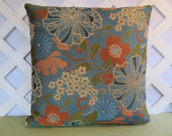 Floral Pillow Cover in Blue Orange Green Peach Tan / Blue Pillow / Accent Pillow / Decorative Pillow / 18 x 18 Pillow