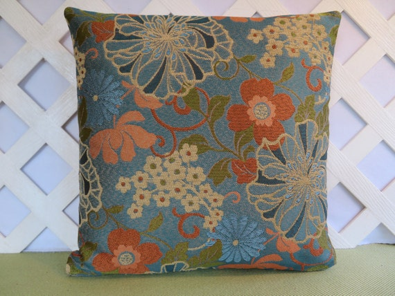 Floral Pillow Cover in Blue Orange Green Peach Tan / Blue