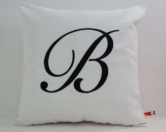 LARGE MONOGRAMMED INITIAL pillow cover Sunbrella indoor outdoor embroidered monogram letter wedding or bridal housewarming gift oba canvas