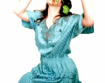 Vintage Dress 80s Fantasy fairytale dress 80s aqua blue dress lace Edwardian victorian Bohemia style Super PRETTY silky retro dress
