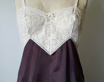 Glorious 1970s Chocolate and Cream Lace Cami - 34