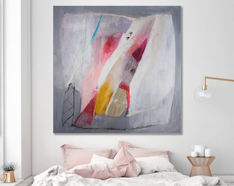Modern urban art Grey Painting white pink Large Wall Art 40x40 original painting ABSTRACT painting large canvas art by DUEALBERI