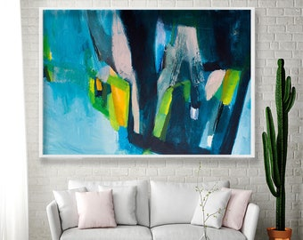 Geometric art Blue Abstract PRINT of Painting - Large wall art  blue pink green giclee print Modern painting