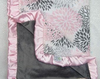 Minky blanket, baby girl blanket, baby gift, Floral blanket, PInk and grey, Ruffle blanket, Grey, Modern Bloom, Plush, blush minky
