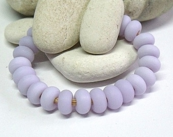 Etched Pale Lilac, Lampwork Spacer Beads, SRA, UK