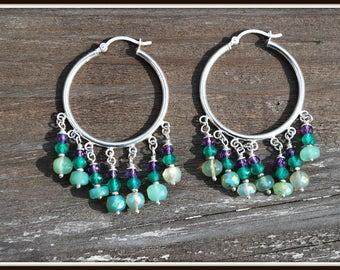 Chrysoprase Earrings, Chrysoprase Chandelier Earrings, Purple and Green Chandeliers, Purple and Green Hoop Earrings, Sterling Silver Hoops