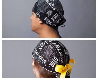 Surgery Hat, Scrub cap, Ponytail Scrub cap, Surgery cap, Ponytailed Surgical cap, Ponytailed surgical hat, scrub hat~ Star Trek Beyond