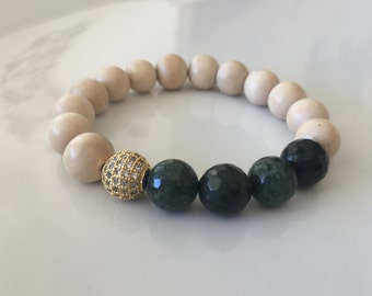 Strength & Peace - Healing Balance Bracelet - Whitewood with Gold