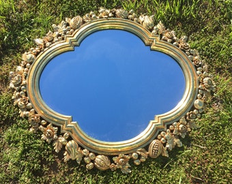 Large Ornate MIRROR Carved GOLD Mirror Floral Flowers Fruit Syroco Mirror 1960s Flower Garland Fruit Garland Cornicopia