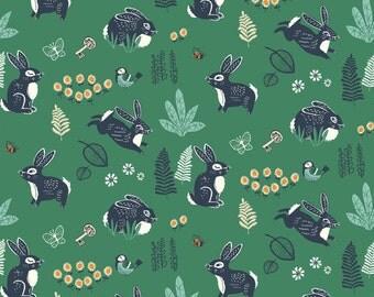 Birch Fabrics Organic  Hidden Garden Poplins -  Bunny Hop Green