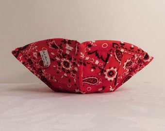 Microwave Bowl Cozy, Bowl Pot Holder, Bowl Cozy, Soup Bowl Cozy, Microwave Hot Pad, Fabric Bowl Cozy, Red Bandanna Print
