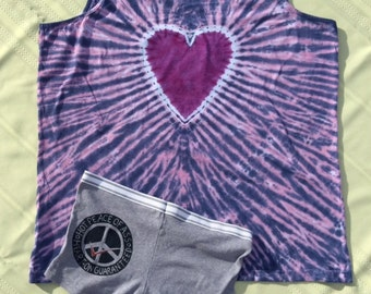Peace of Ass tie dye Jammies  tie dye tank top size 2XL undies boy short size 8