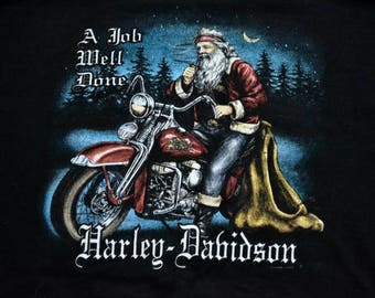 Vintage 1998 Harley-Davidson Santa on a Motorcycle T-Shirt MADE IN USA