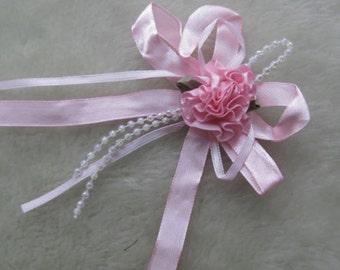 Satin Ribbon Flower Bows Bead set of 4 pink color
