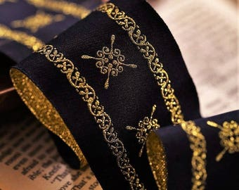 1 3/4 inch wide black/gold jacquard price for 1 yard