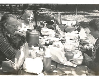 """Vintage Photo """"Moveable Feast"""" Family Picnic Waxed Paper Thermos Water Jug Brown Paper Bags Grumpy Man Found Photo"""