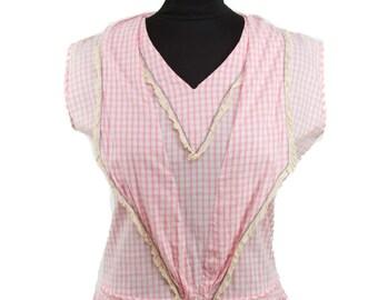 1920s Dress // Pink Gingham Cotton Lace Trimmed Drop Waist Flapper Dress