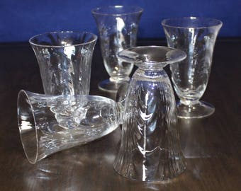 Gorgeous, Vintage, Set of 5, Cambridge Caprice - Clear Loop Optic, Footed Tumblers