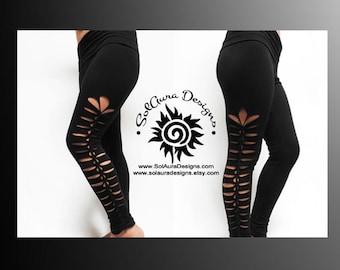 PRETTY LITTLE LEGS - Womens / Juniors Cut Up, Shredded and Weaved Black Leggings, Club Wear, Sexy Wear, Festival Wear L-3011