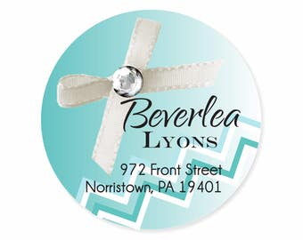 Little Blue Box Turquoise White Bow Personalized Address Labels Stickers