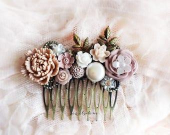 Wedding Hair Comb, Blush, Pink, Mauve, Pastel, Bridal Hair Accessories, Hair Pin, Bridesmaids, Romantic, Hair Adornment, Custom Made Clip