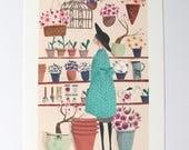 SALE The Flower Shop A4 Art Print