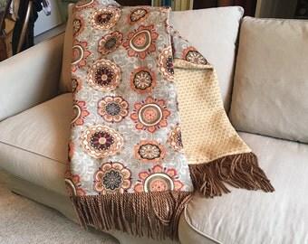 Moroccan Tribal Throw Blanket, Decorator Throws Orange Shades, Luxurious Custom Bedding,  Lap Covers,  Sofa Bed Blankets OOAK Mayan Design