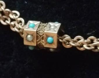 Antique Gold Slide,Gold Filled long Chain