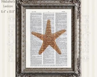 Sea Star Starfish 2 on Vintage Upcycled Dictionary Art Print Book Art Print Recycled Repurposed Ocean beach art seashells echinoderm