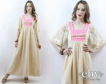 Lace Maxi Dress Hippie Wedding Dress Hippy Wedding Dress Boho Wedding Dress 70s Dress 1970s Dress Lace Dress Pink Dress Hippie Dress XS
