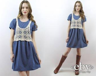 90s Babydoll Dress 90s Grunge Dress 1990s Dress 90s Dress Crochet Vest Dress 90s Denim Dress Denim Babydoll Dress Denim Mini Dress S M