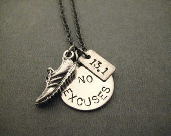 RUN Your Race With NO EXCUSES Necklace - 5k, 10k, 13.1 or 26.2 - Run Necklace on Gunmetal chain - No Excuses Racing - Race - Road Race